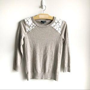 J. Crew Tippi Lace Merino Wool Sweater in Beige